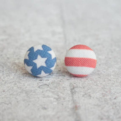 American Flag Fabric Button Earrings