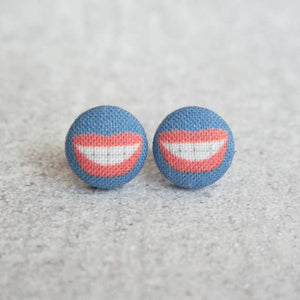 Smile BIG Fabric Button Earrings