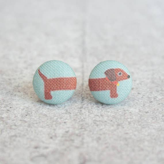Long Dog Fabric Button Earrings