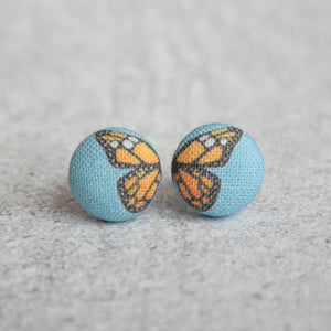 Butterfly Wings Fabric Button Earrings