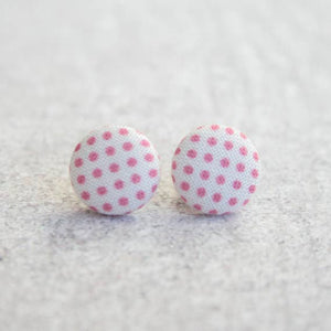 Pink Polka Dot Fabric Button Earrings