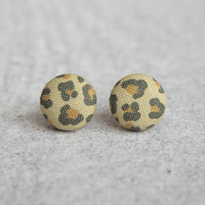 Leopard Fabric Button Earrings