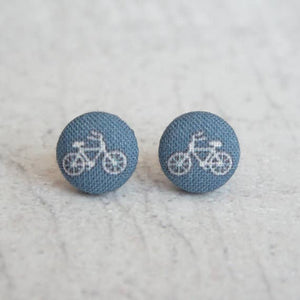 Tiny Navy Bikes Fabric Button Earrings