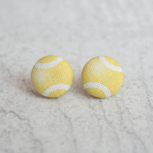 Tennis Ball Fabric Button Earrings
