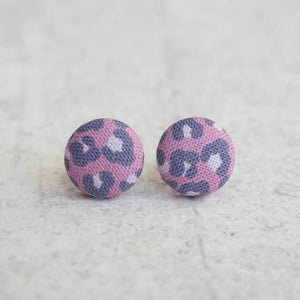 Purple Leopard Fabric Button Earrings