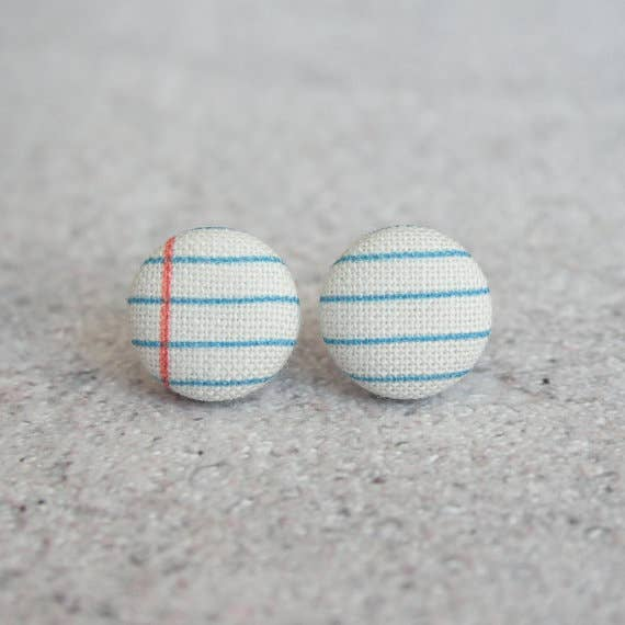 Notebook Fabric Button Earrings