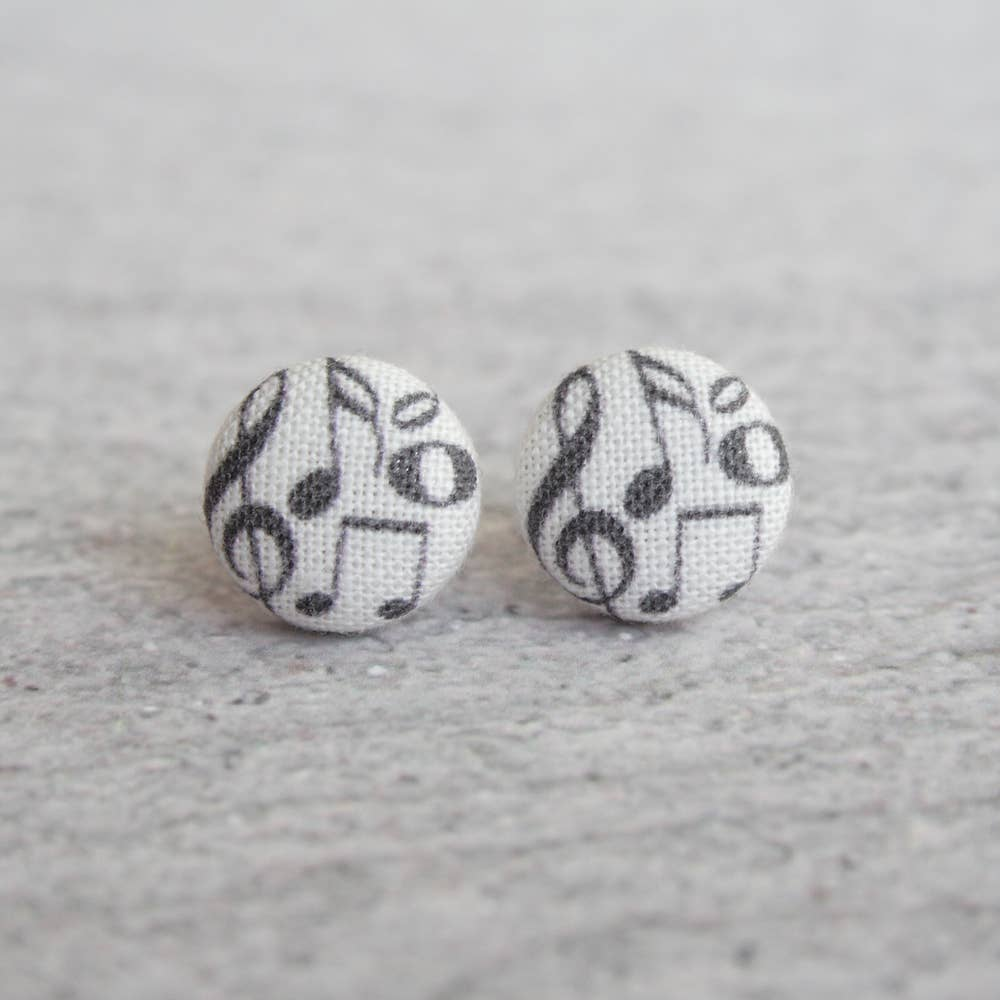 Music Fabric Button Earrings