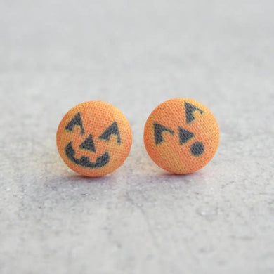 Jack O Lanterns Fabric Button Earrings