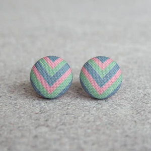 Pastel Chevron Fabric Button Earrings