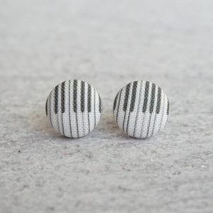 Piano Key Earrings Fabric Button Earrings
