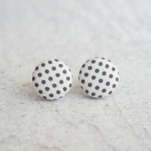 Black and White Polka Dot Fabric Button Earrings