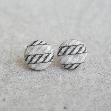 Rope Print Fabric Button Earrings