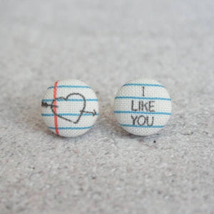 Love Note Fabric Button Earrings