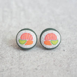 Sushi Roll Fabric Button Earrings