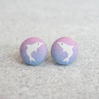 Dolphin Fabric Button Earrings