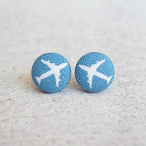 Air Planes Fabric Button Earrings