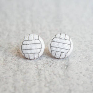 Volleyball Fabric Covered Button Earrings