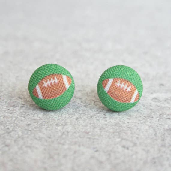 Footballs, Fabric Covered Button Earrings