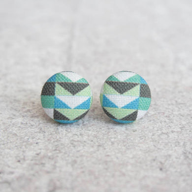 Cool Mod Fabric Covered Button Earrings