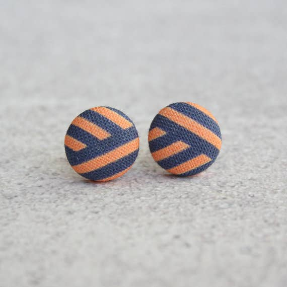 Angled Stripes Fabric Button Earrings