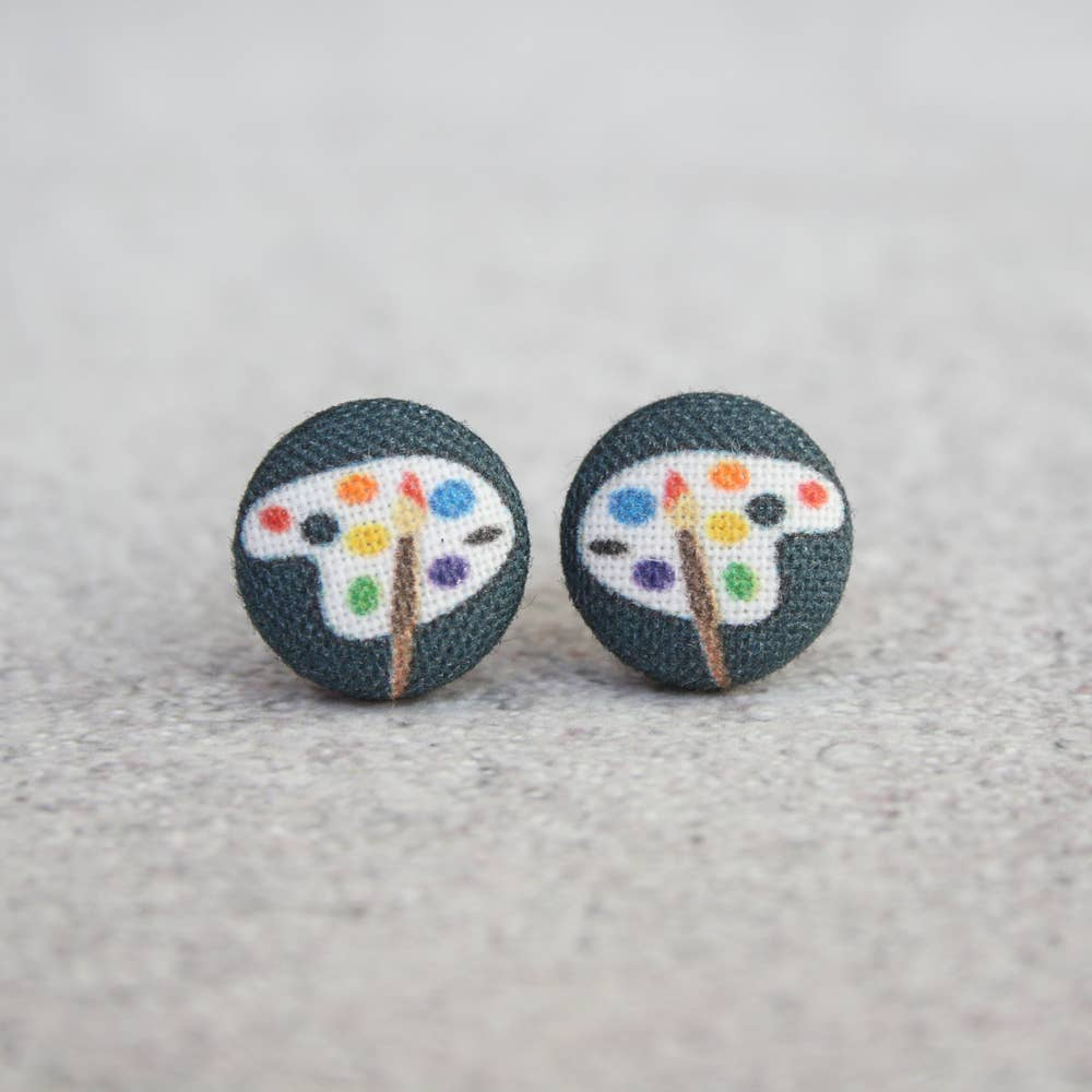 Artist Paint Palette Fabric Button Earrings