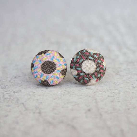 Donut Fabric Button Earrings