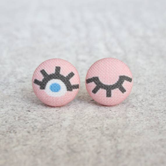 Wink Fabric Button Earrings
