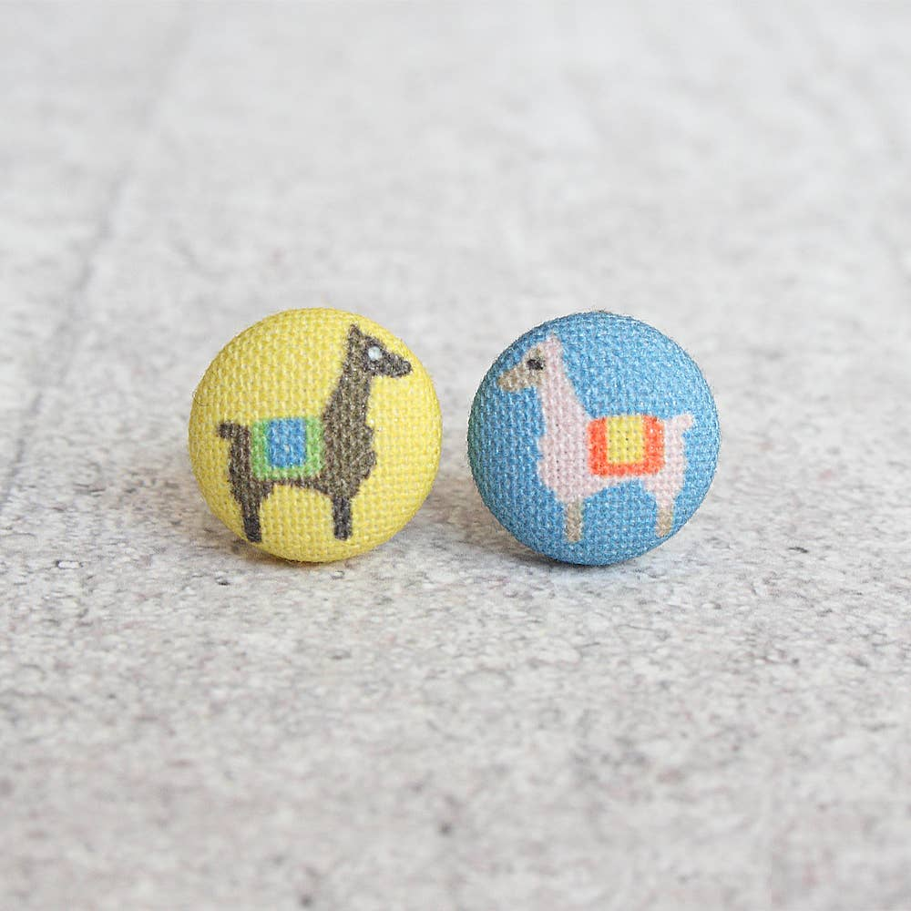 Alpaca Fabric Button Earrings
