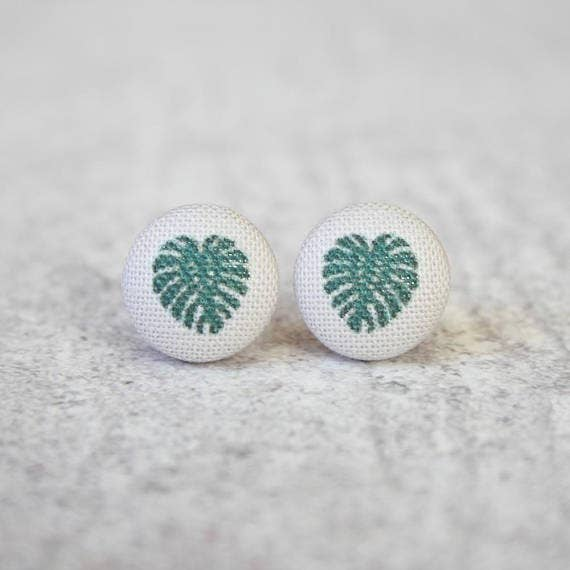 Monstera Fabric Button Earrings
