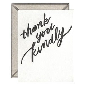 Thank You Kindly Letterpress greeting card