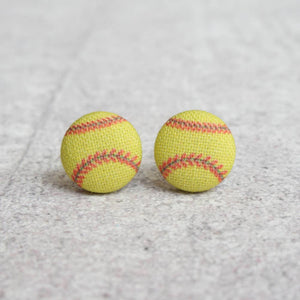 Softball Fabric Button Earrings
