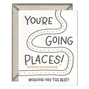 Going Places Letterpress greeting card