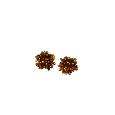 Amber Glass And Brass Cluster Earring