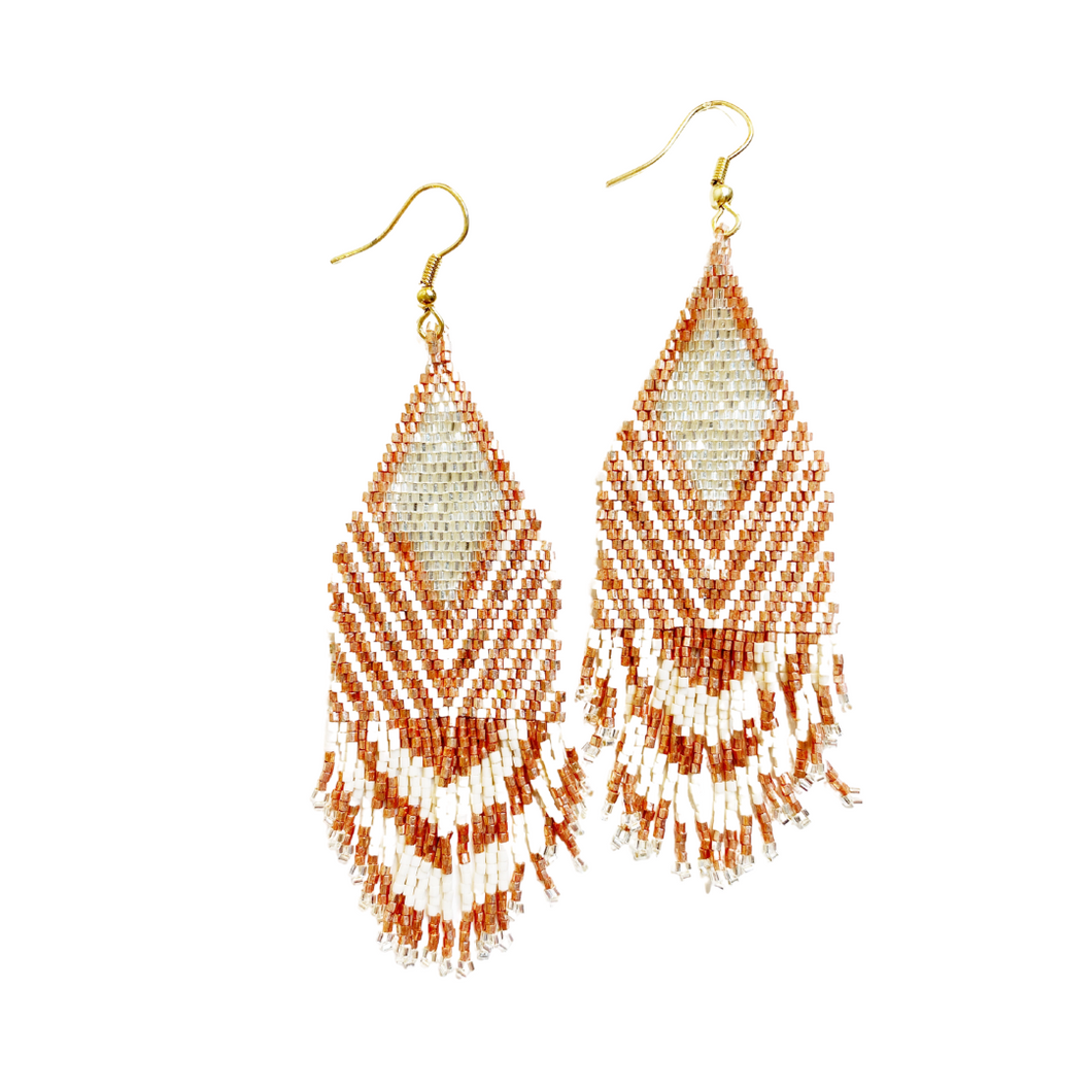 Rose Gold Ivory Stripe Earring