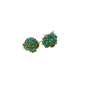 Turquoise Glass And Brass Cluster Earring