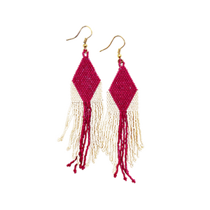 Magenta And Ivory Diamond Stripe Earring