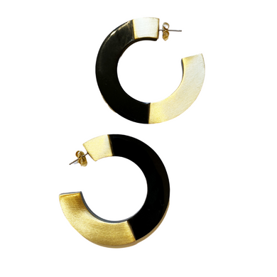 Retro Horn and Brass Blocked Hoops