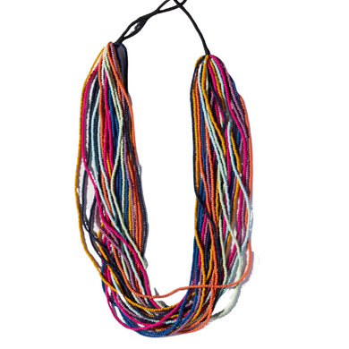 Multi Stripe Layered Seed Bead Necklace