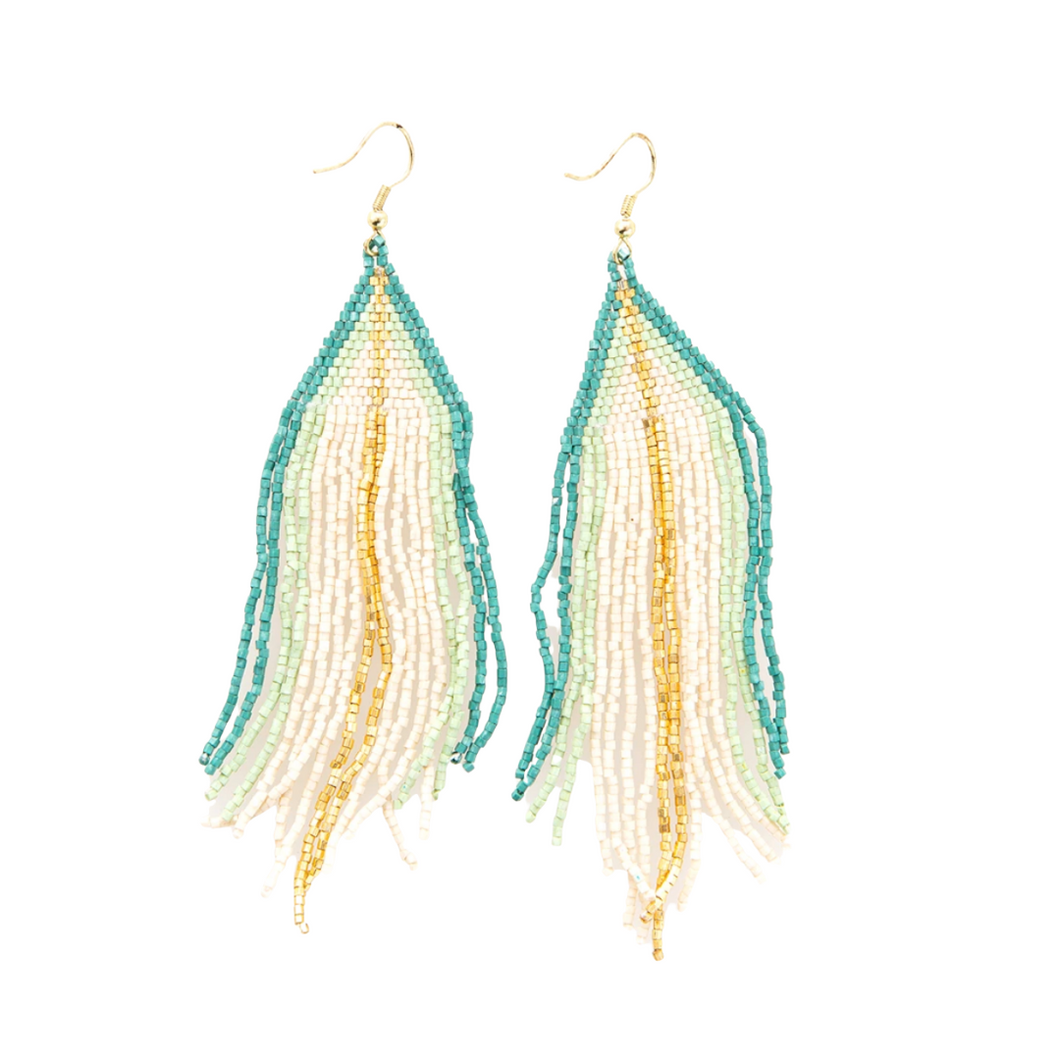 Ivory with Teal Ombre Luxe Earring