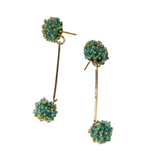 Turquoise Glass Double Cluster Dangle Earring