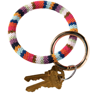Multi Stripe Seed Bead Key Ring