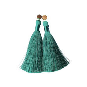 "Emerald Green 4"" Tassel Earrings"
