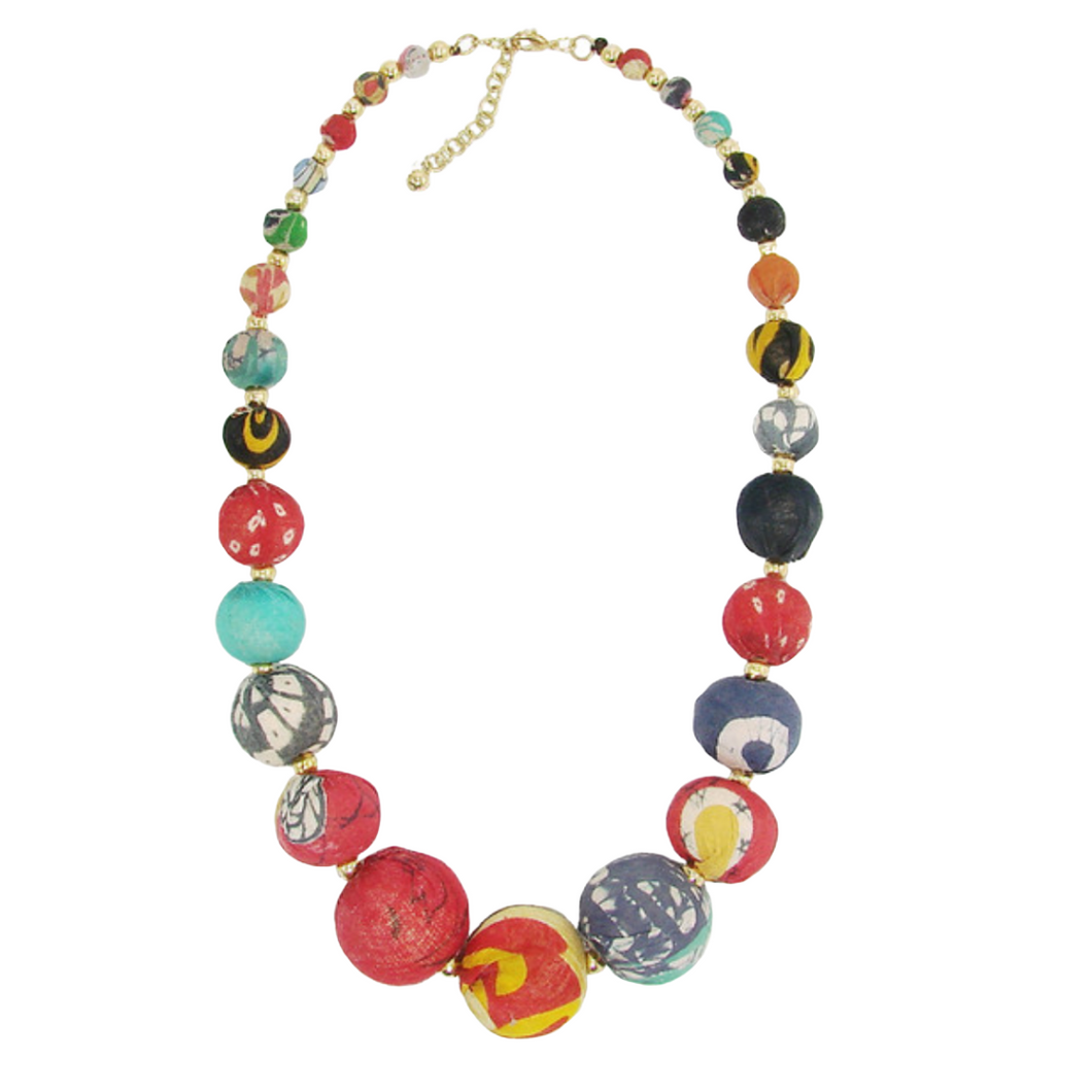 Kantha Graduated Bead Statement Necklace