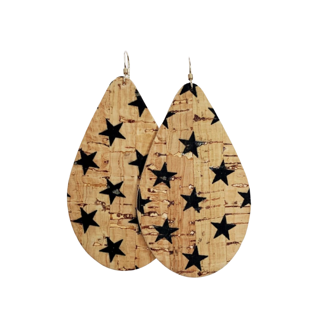 Black Stars Cork on Cowhide