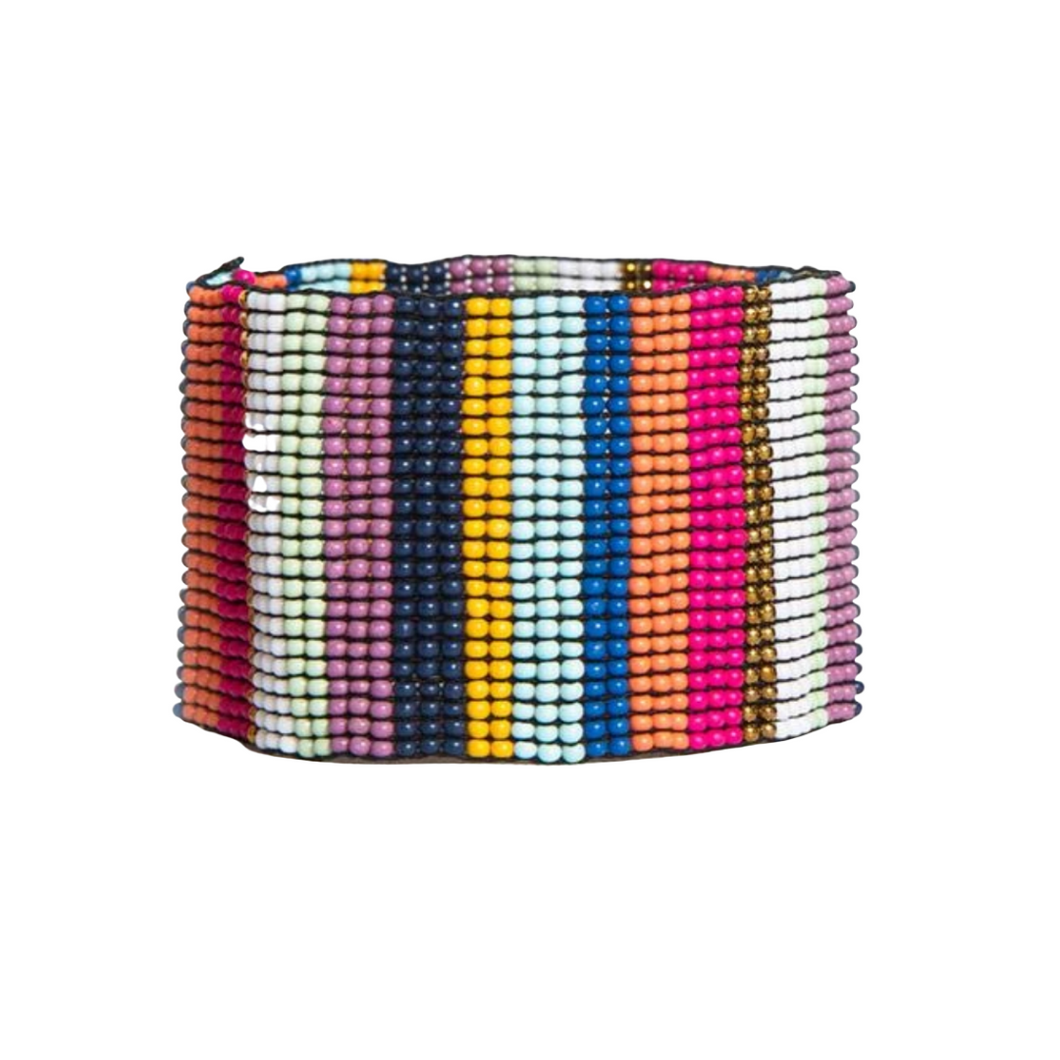 Multi Color Stripe Wide Bracelet 1.5