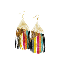 Gold Ivory with Muted Stripe Earring