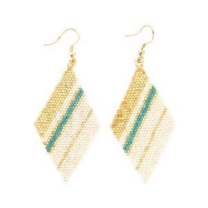 Teal Gold Ivory Diamond Luxe Earring