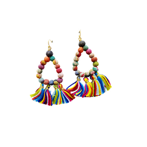 Kantha Teardrop Fringe Earrings