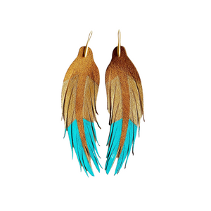 Turquoise and Gold Feathers