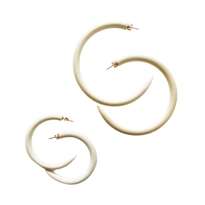 Chanel Ivory Mango Wood Hoops
